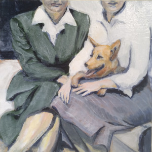 2 women and red dog 12 x 12 CARAMEL